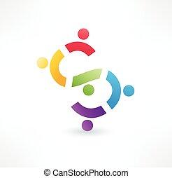 logo, icon., coopération, design.