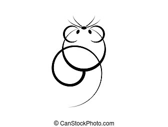 Logo icon of a rat or mouse for web and print. Minimalist rat is the symbol of 2020 logo Chinese New Year on the lunar calendar, vector isolated on white background