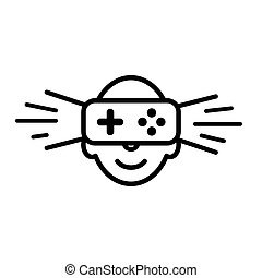 Logo, icon of virtual reality. Human face with virtual reality device. Sign, emblem vector template.