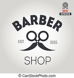 Logo, icon or logotype for barbershop - Logo elements badge,...