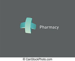 Logo icon volumetric cross green ribbon pharmacy