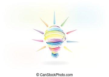 logo, idéer, lök, lätt