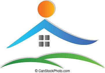 logo, ikon, hus