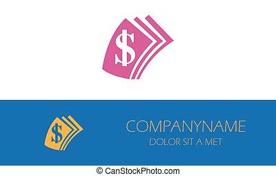 logo, ikona, dolar, pieniądze