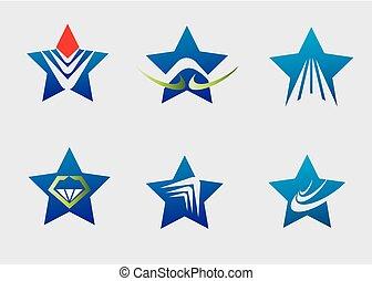 logo, ikona, gwiazda, zbiór, element