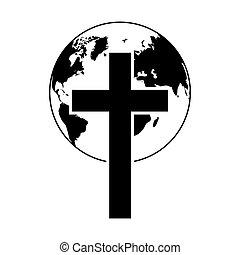 logo., illustration., icon., vallás, földgolyó, keresztény, vektor, fekete, kereszt