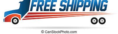 logo, image, lastbil, fri, forsendelse