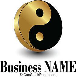 Logo gold yin yang symbol, vector illustration.