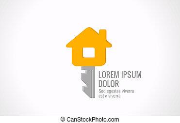 logo, immobiliers, vecteur, design., clef maison, realty, créatif, idea.