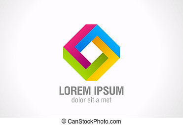 Logo impossible loop rhomb vector abstract. Infinite shape -...