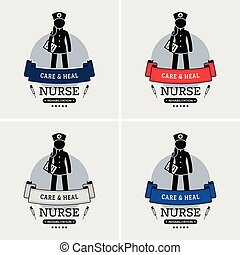 logo, infirmière, design.