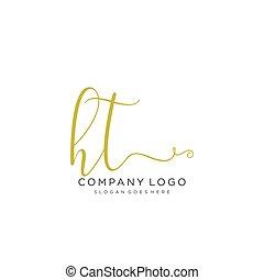 logo, initial, design, ht, handstil