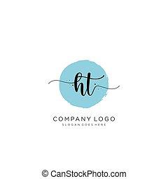 logo, initial, ht, design, handstil