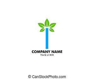 logo, initiale, feuille, lettre