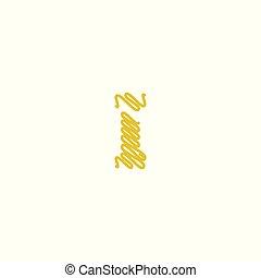 logo, initiale, gribouiller, lettre, or