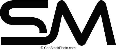 logo, initiale, sm, lettre, créatif