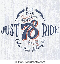 logo, inscription-just, motocyclette, retro, ride.