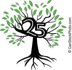 logo, jahre, baum, jubiläum, 25