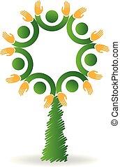 logo, jedność, ludzie, drzewo, ikona