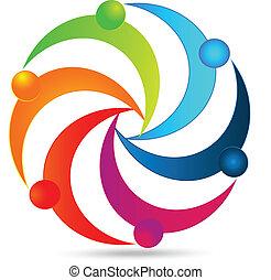 logo, jedność, teamwork, ludzie