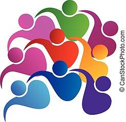 logo, jedność, wektor, teamwork, ludzie