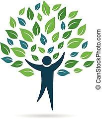 logo, jednorazowy, drzewo, ludzie