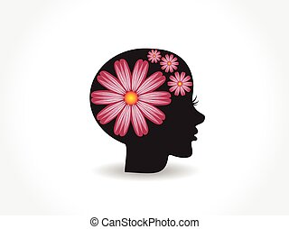 logo, joli, fleur, figure, femme, rose
