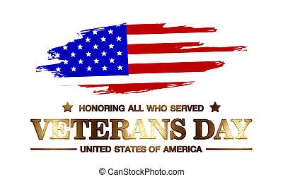 logo, jour, usa, vétérans