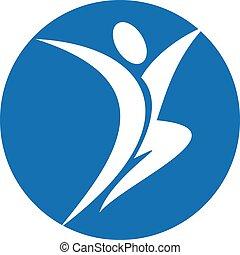 logo, karakter, menneske, glade