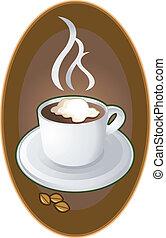 logo, kawa, emblemat