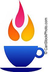 logo, kawa, płomień