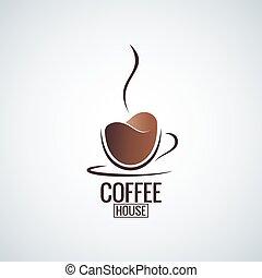 logo, kawa, projektować, tło, filiżanka