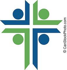 logo, kerk, mensen, design.