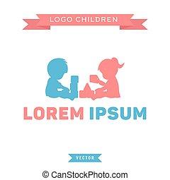 logo, kinder, spielen, mit, blöcke, junge mädchen, vektor, abbildung