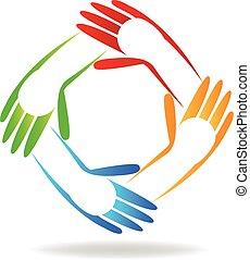 logo, kinderen, handen