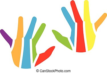 logo, kinderen, kleurrijke, handen