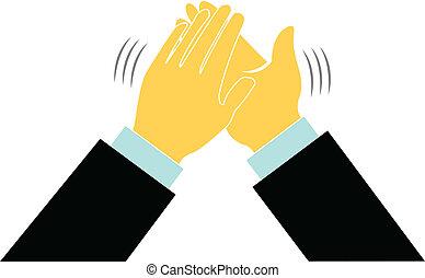 logo, klap, handel hands