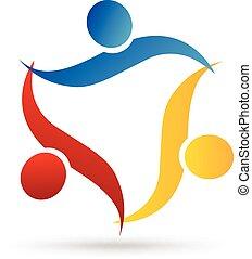 logo, klemme, teamwork, folk
