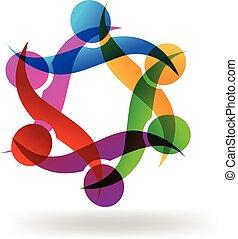 logo, klemme, teamwork