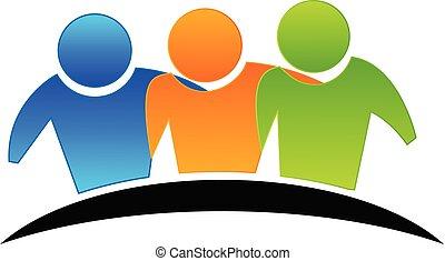 logo, klemme, venskab