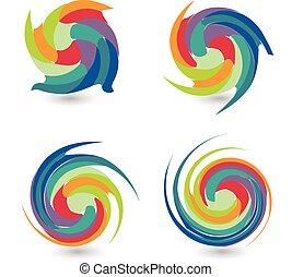 logo, kleurrijke, verzameling, golven