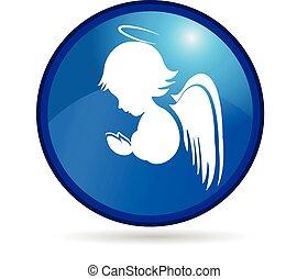 logo, knapp, ängel