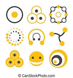 logo, koło, elementy