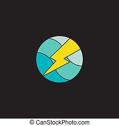logo, koło, formułować, grzmot, piłka, wektor, geometryczny, nachylenie