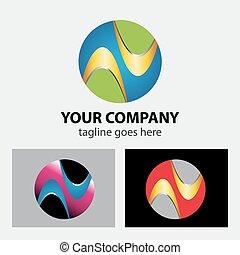 logo, koło, globalny, abstrakcyjny, media