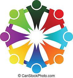 logo, koło, handlowy, towarzyski