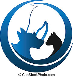 logo, koń, pies, kot