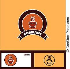 logo, koffie, badge
