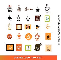 logo, koffie stel, pictogram