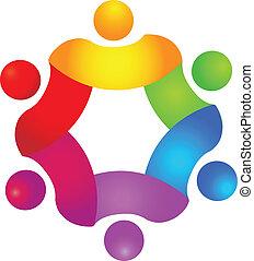 logo, kolor, pojęcie, teamwork, 6
